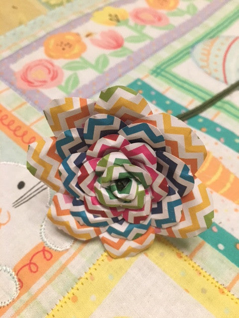 Chevron Paper Flower Rose
