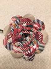 Plaid Flower Rose Lapel Pin