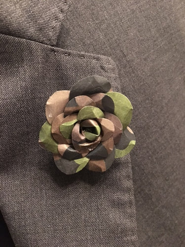 Camouflage Flower Rose Lapel Pin