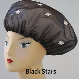 Black Stars Shower Cap