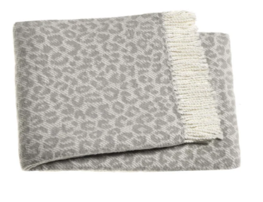 Leopard Throw Cream/ Grey