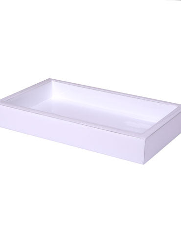 Essentials White Rectangular Tray