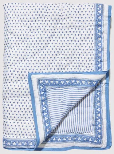 Baby Hearts Quilt Blue