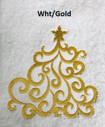Crystal Tree White/Gold Guest Towel
