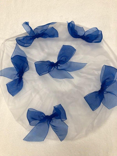 Royal Blue Bow Shower Cap
