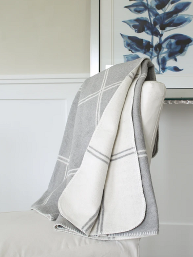 Double Face Windowpane Throw Grey