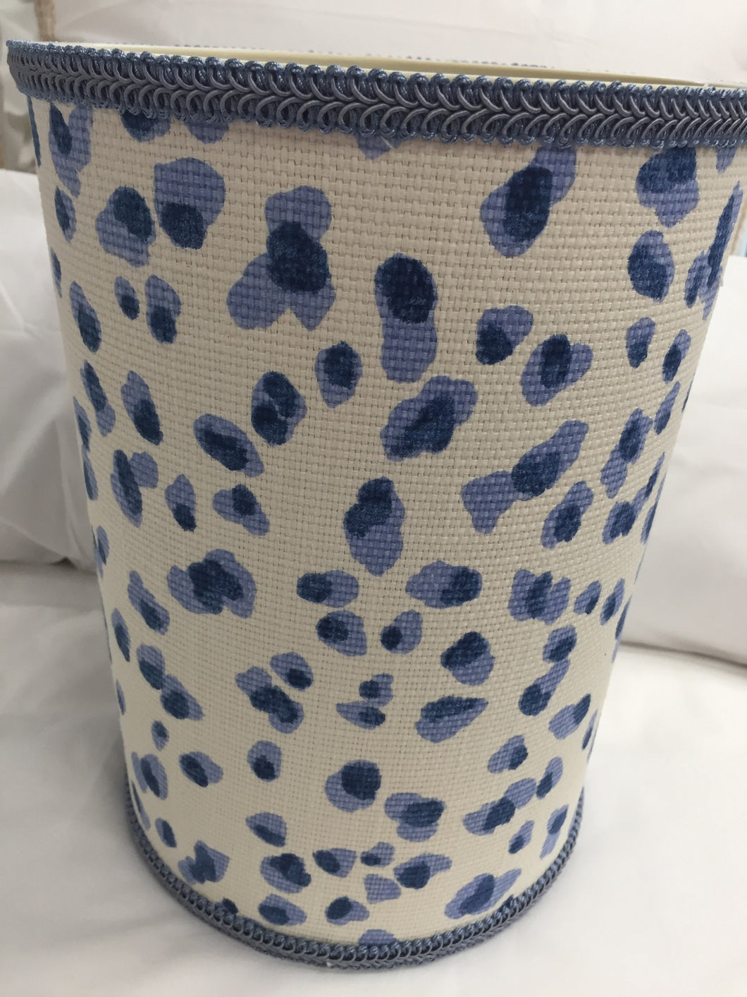 Blue Cheetah Wastebasket