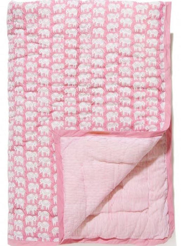 Baby Elephant Quilt Pink
