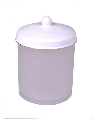 Essentials White Glass Cotton Ball Cannister