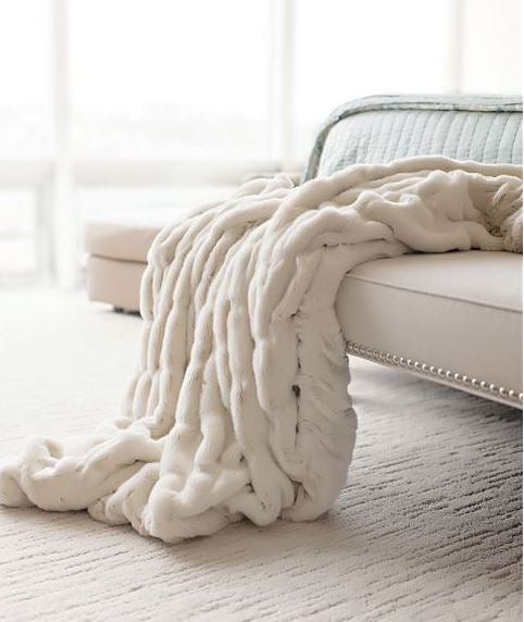Ivory Faux Mink Couture Throw