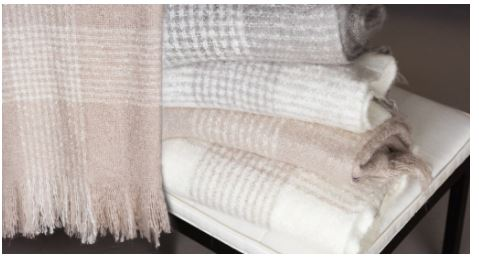 Plaid Fringed Mohair Acrylic Throws