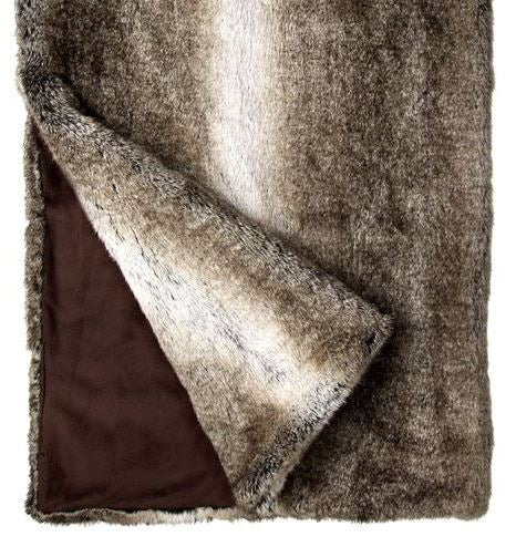 Grey Rabbit Faux Fur Throw
