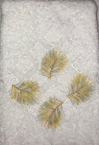 Sprigs White/Gold Guest Towel
