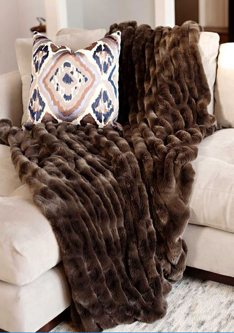 Taupe Faux Mink Couture Throw