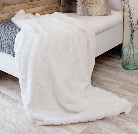 Signature Series White Mink Faux Fur Throw