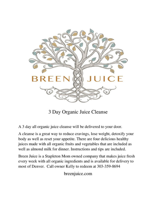 Gift certificate for a 3 day  juice cleanse