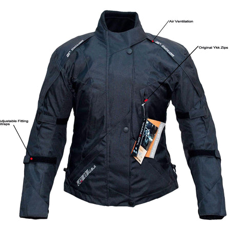 Ladies Textile Motorcycle Black Jacket