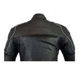 Mens Black Biker Leather Jacket CE Armored