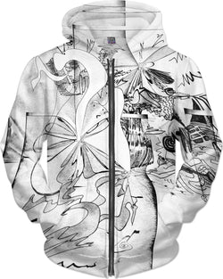 Abstract Elastic Hoodie