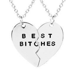 Best Bitches Two Piece Heart Necklace Set