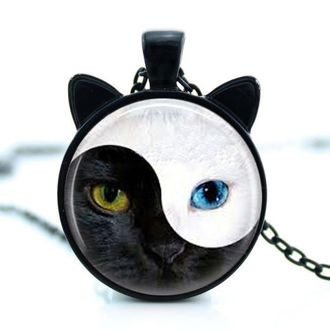 Yin and Yang Black and White Cat Pendant Necklace