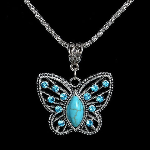 Turquoise Natural Stone Butterfly Pendant Necklace