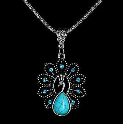 Turquoise Natural Stone Peacock Pendant Necklace