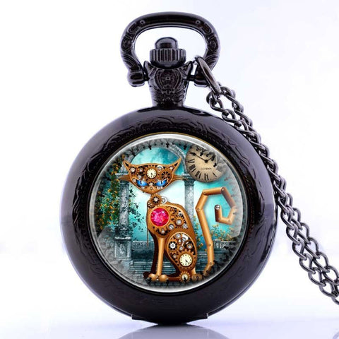 Steampunk Cat Pocket Watch Necklace in Black