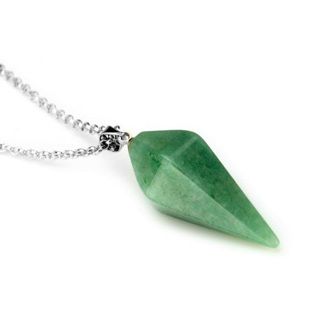 Green Quartz Crystal Pendant Necklace