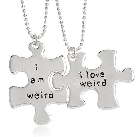 I Am Weird and I Love Weird Two Puzzle Piece Necklace Set