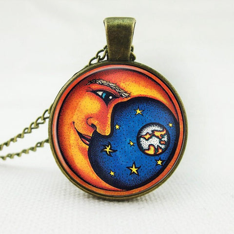 Moon Watching Over The World Pendant Necklace