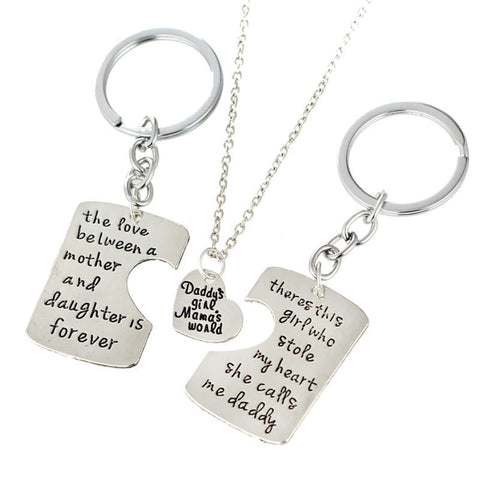 Mother, Father And Daughter Key Ring And Necklace Set