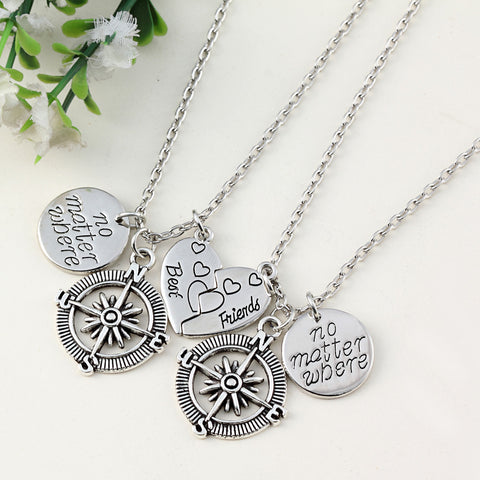 No Matter Where Two Piece Best Friends Heart With Compass Necklace Set