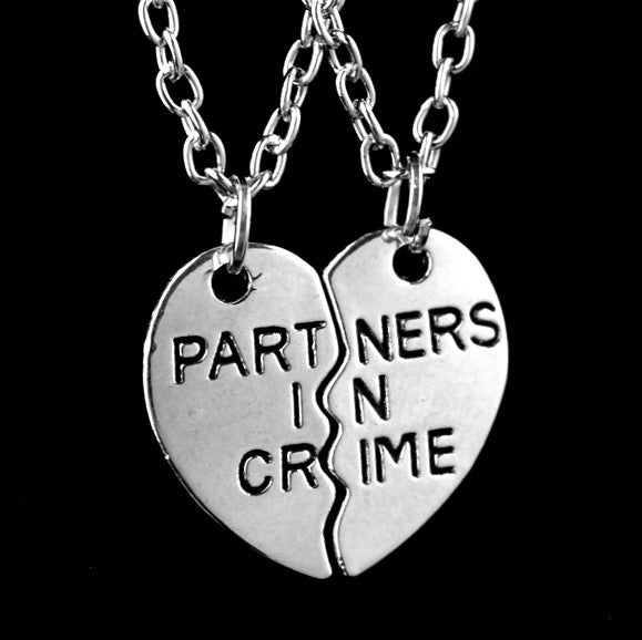 Partners In Crime Two Piece Heart Necklace Set