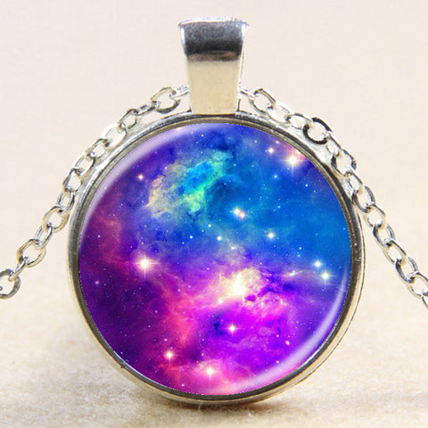 Two Toned Pink And Blue Cosmos Pendant Necklace
