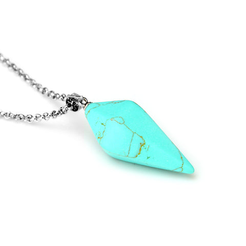 Turquoise Crystal Pendant Necklace