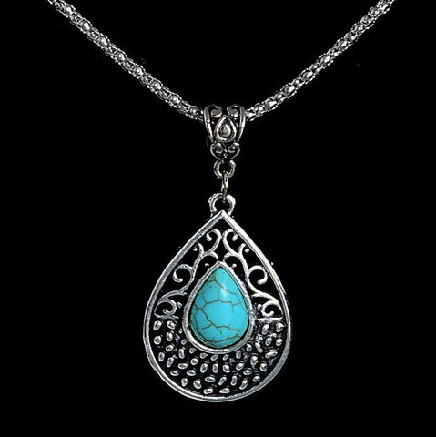 Turquoise Natural Stone Teardrop Pendant Necklace