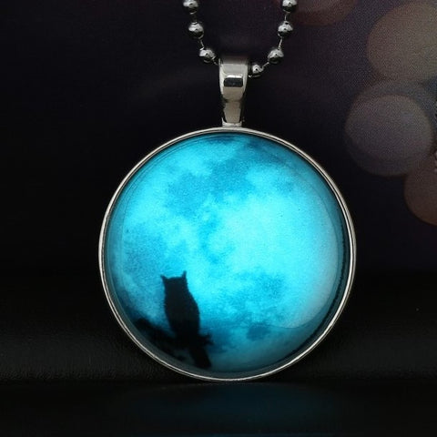 Glow In The Dark Owl In The Moon Necklace