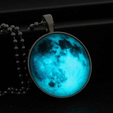 Glow In The Dark Moon Surface Necklace