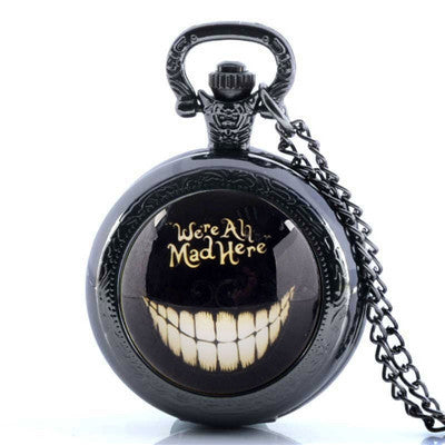 We're All Mad Here Pocket Watch Necklace