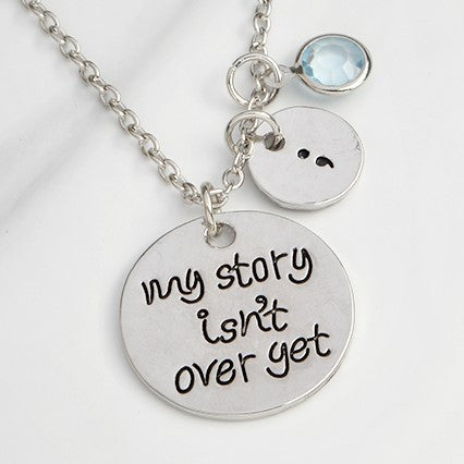 My Story Isn't Over Yet Quote Necklace