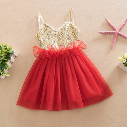 DRESS ~ GOLD RED SPARKLE