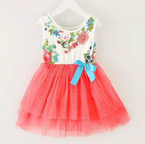 DRESS ~ FLORAL TULLE RED