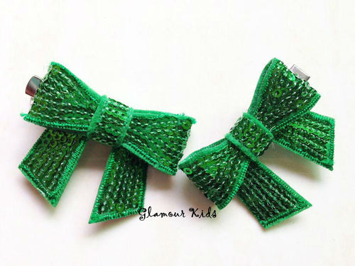 GREEN SEQUIN BOW CLIP (PACK OF 2)