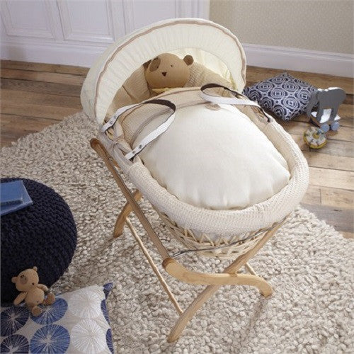 Izziwotnot Cream Gift Wicker Moses Basket with Stand