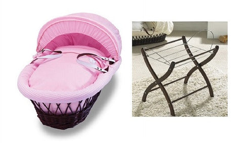 Izziwotnot Pink Gift Wicker Moses Basket with Stand