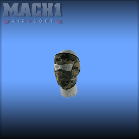 Neoprene Full Face Mask Digital Green Camouflage