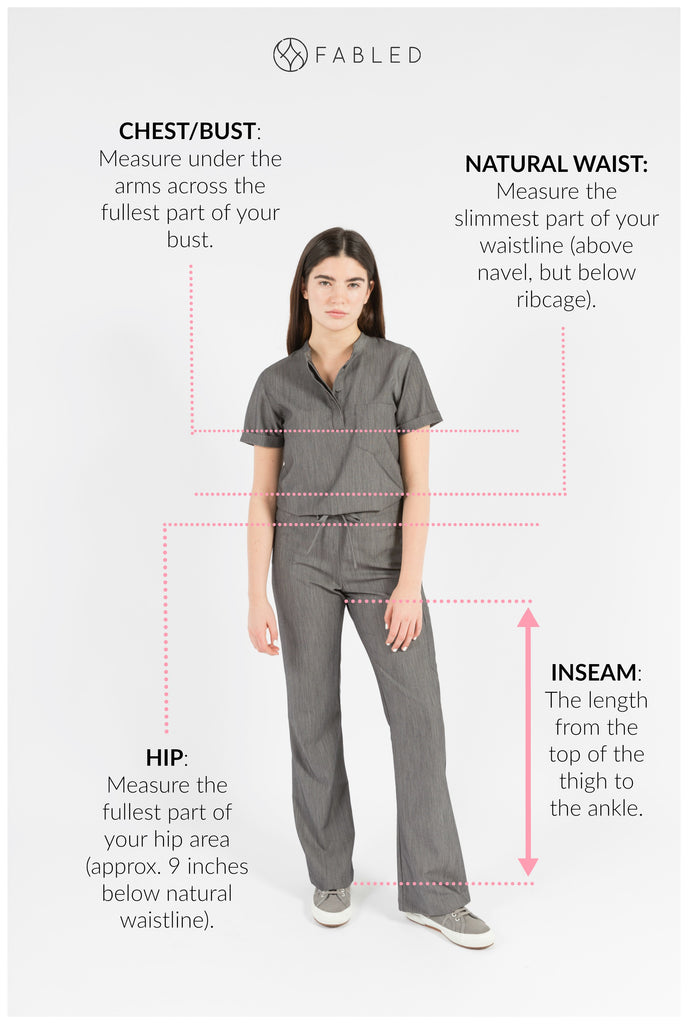 Fabled boutique scrubs women healthcare professionals size chart
