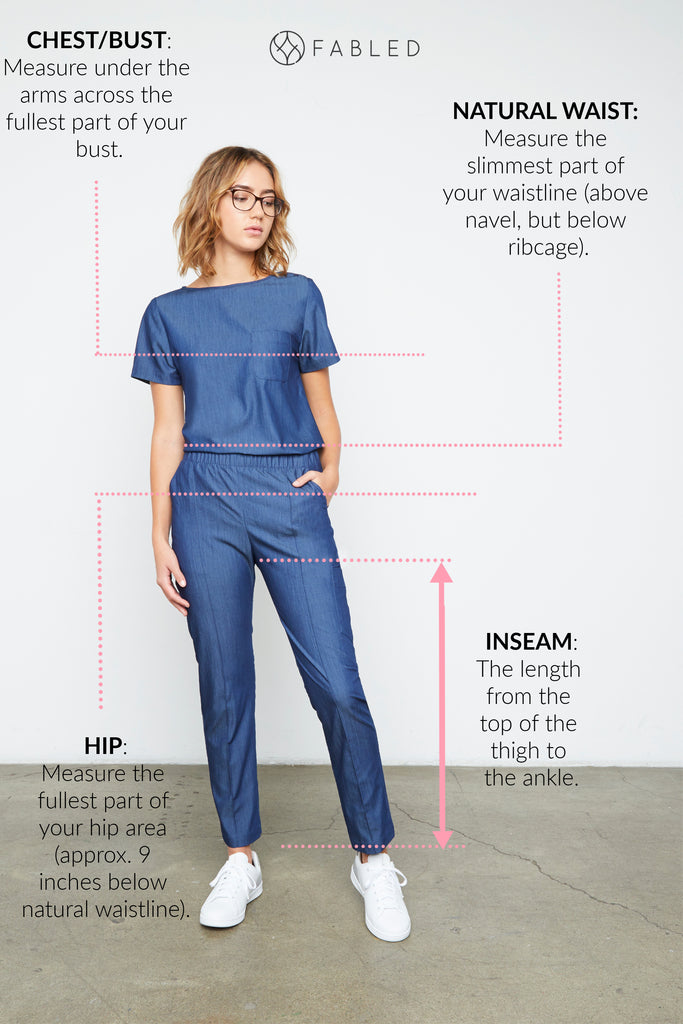 Fabled Harley Fancy Scrubs Size Guide Image
