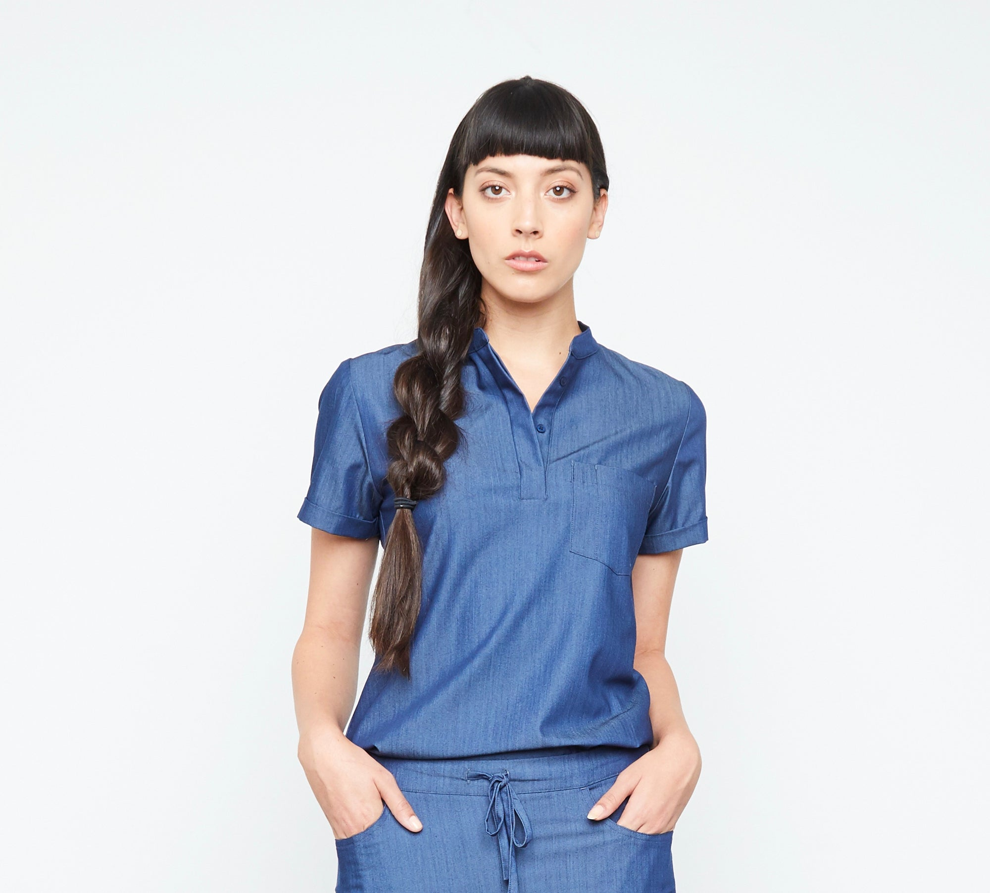 Maverick Top (Neptune Dust) | Fabled makes designer scrub fashions, cute dental scrubs, and cute vet scrubs. All Fabled's cute scrubs made in USA.